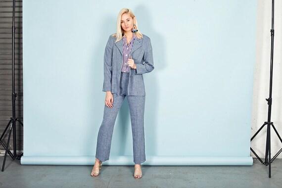 80s Blue Heathered Wash Pant Set Vintage Pastel B… - image 4