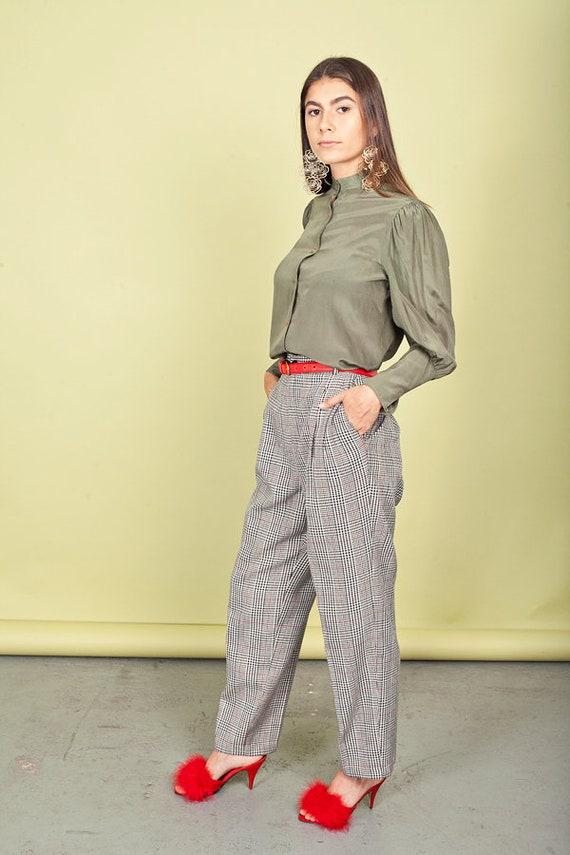 80s Plaid High Waisted Pants Vintage Black Red Tr… - image 6
