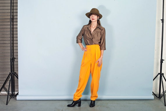 80s Orange Yellow Trousers Vintage Bright Rayon Hi