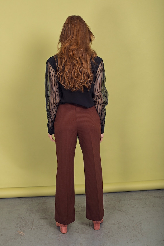 70s Dark Brown Knit Pants Vintage High Waisted Pa… - image 7