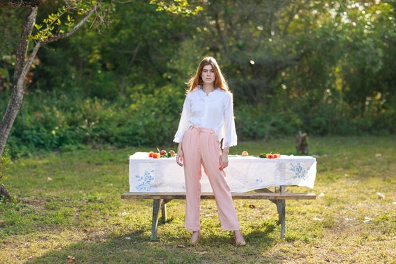 80s Pink Soft Rose Silk Trousers Vintage Pastel S… - image 3