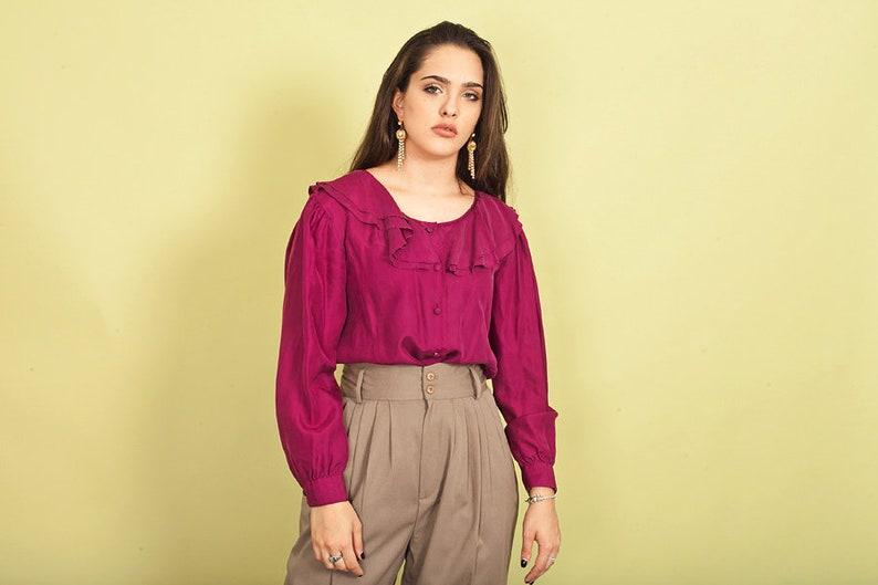 96b1dac43f9dca 80s Dark Fuchsia Silk Ruffles Blouse Vintage Romantic Shiny | Etsy