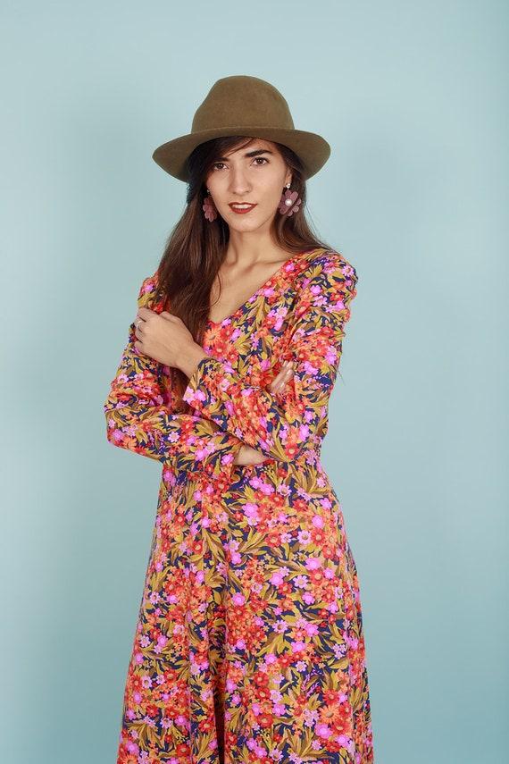 60s Botanical Dress Vintage Flower Print Long Sle… - image 6