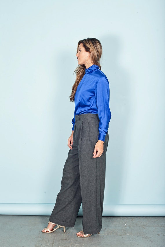 70s Gray Wide Legged Pants Vintage High Rise Knit… - image 3