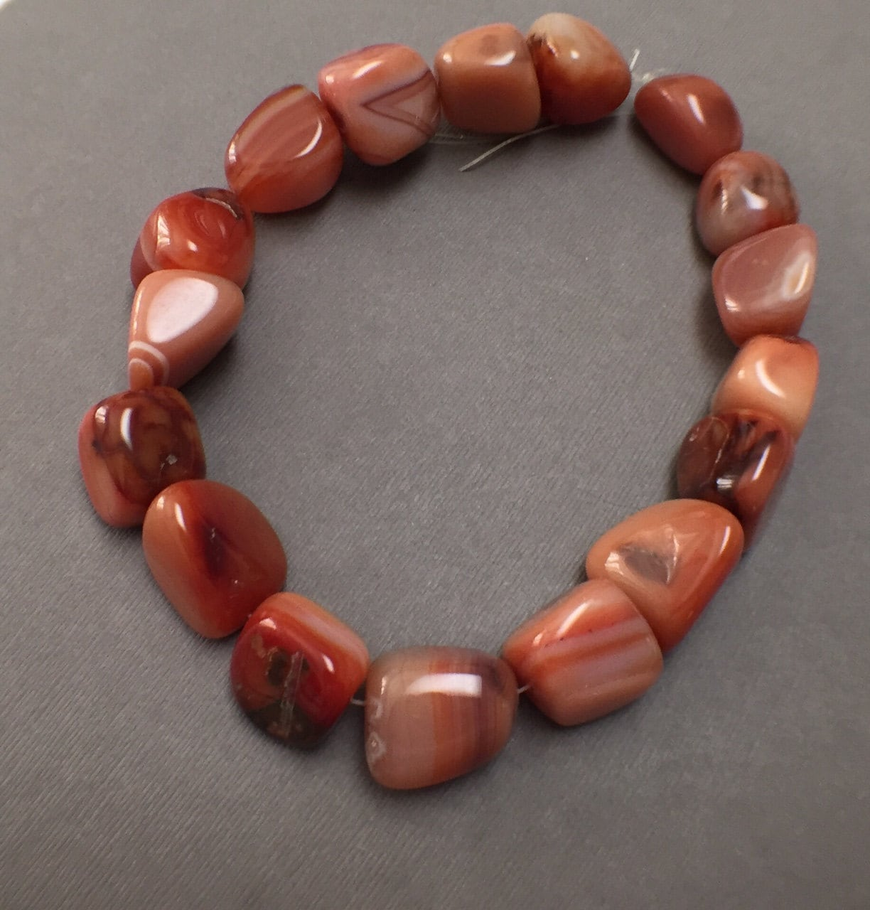 Large Red Line Agate Nugget Beads. Deep Pink. Gemstone