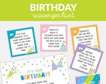 Birthday Scavenger Hunt Clues, Editable Clue Cards for Indoor Treasure Hunt for Kids - INSTANT DOWNLOAD - Printable PDF with Editable Text