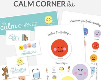 Calm Down Corner Kit for Kids, Printable Emotional Regulation for Toddlers and Preschool, Learn Feelings - INSTANT DOWNLOAD - Printable PDF