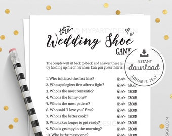 Wedding Shoe Game, Bridal Shower or Wedding Game, Bachelorette Party, Classic, Rustic, Virtual - INSTANT DOWNLOAD - Printable Editable PDF