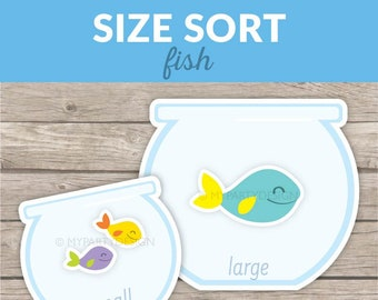 Fish Size Sorting Game, Printable activity for Toddlers and Preschool, Homeschool Maths Printable - INSTANT DOWNLOAD - Printable PDF