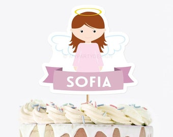 Baptism Cake Topper, Girl Angel Cake Decor, Printable Christening, Confirmation, First Communion, INSTANT DOWNLOAD - Printable Editable PDF
