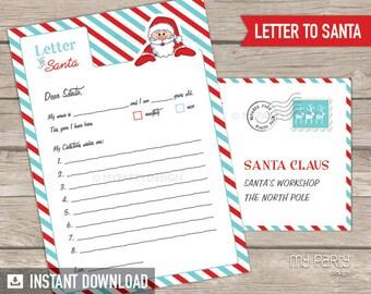 Letter from santa kit with envelope template red christmas etsy letter to santa kit with envelope template red turquoise santa claus christmas instant download printable pdf spiritdancerdesigns Images
