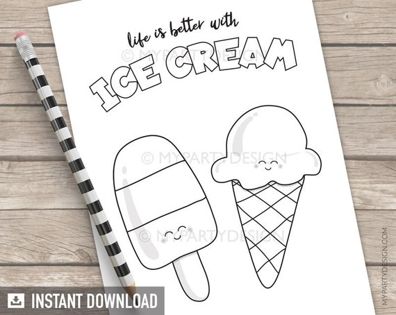 Coloring Page Ice Cream Color in Summer Birthday Party