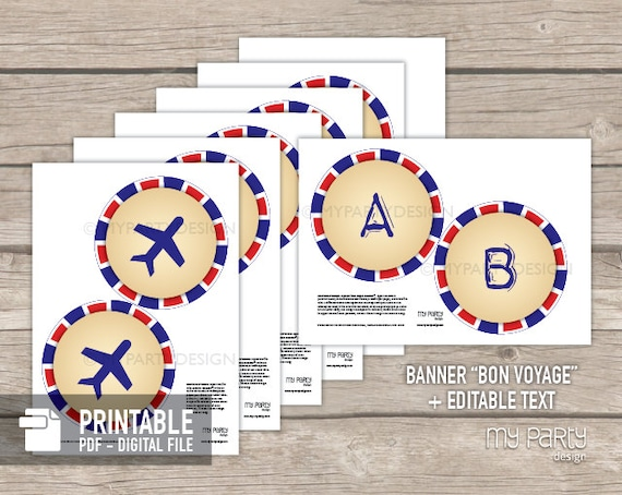 travel party farewell party banner red and blue instant download printable pdf with editable text