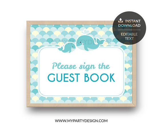 Baby Shower Guest Book birthday guestbook Whale signature  printable pdf  Its a girl boy Babyshower ideas nautical children party welcome