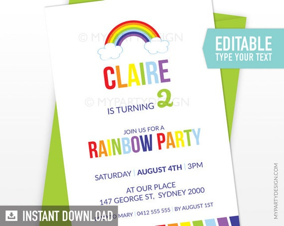 rainbow party invitation art birthday party color party