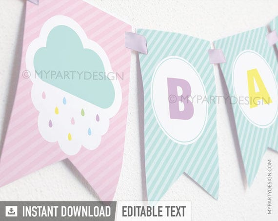 Cloud Baby Shower Games Pack Printable PDF with Editable Text INSTANT DOWNLOAD Gender Neutral Baby Sprinkle