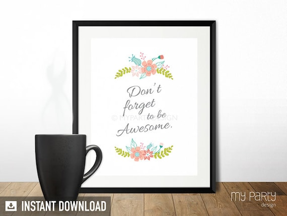 awesome sign decor be awesome 8x10 printable sign print home decor wall art  be awesome 8x10 printable sign