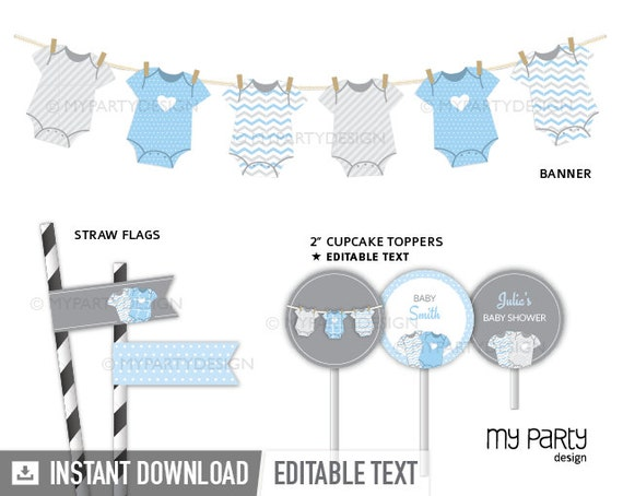 Blue Baby Shower Boy Baby Shower Printable PDF with Editable Text Baby Shower Games Pack INSTANT DOWNLOAD bodysuit theme