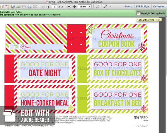 Christmas Coupon Book Christmas Gift INSTANT DOWNLOAD Etsy
