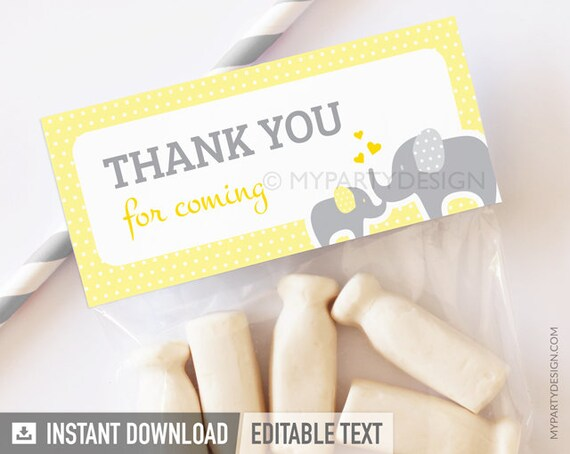Elephant Food Labels Place Cards Gender Neutral Baby Shower Printable PDF with Editable Text Yellow Grey INSTANT DOWNLOAD