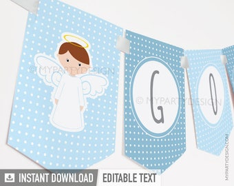 Baptism Banner - Blue Angel Baptism Party - Christening - First Communion - INSTANT DOWNLOAD - Printable PDF with Editable Text