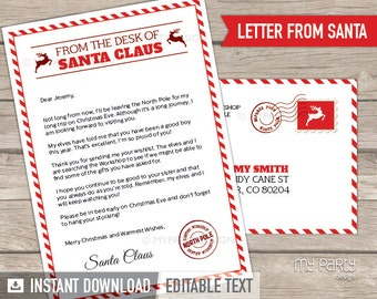 Letter from Santa Printable kit with Envelope Template, Christmas Letter from Santa Claus - INSTANT DOWNLOAD - Printable Editable PDF