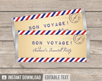 Travel Party Chocolate Wrappers, Farewell Party Decorations, Vintage Postcard Travelling Theme - INSTANT DOWNLOAD - Printable Editable PDF
