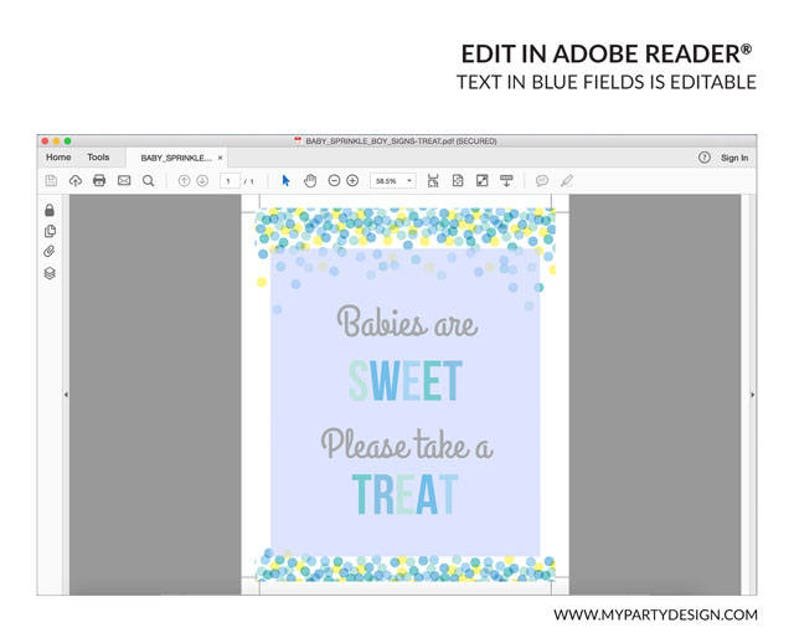Printable PDF with Editable Text INSTANT DOWNLOAD BB02 Boy Baby Shower Take a Treat Sign Baby Sprinkle Sign