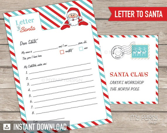 Letter To Santa Kit With Envelope Template Red Turquoise Santa Claus Christmas Instant Download Printable Pdf