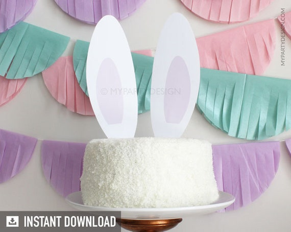 Bunny Party Cake Topper Bunny Ears Easter Bunny Party Rabbit