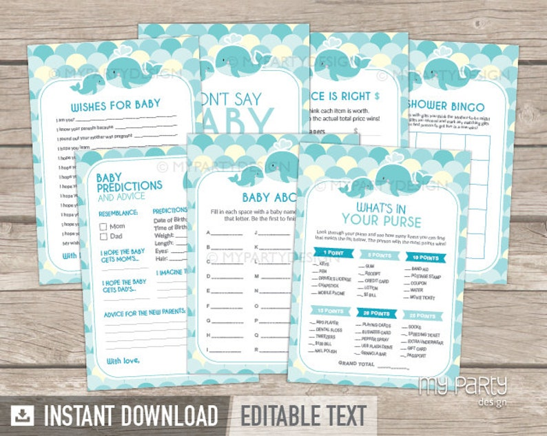 INSTANT DOWNLOAD Baby Shower Game Printable PDF with Editable Text Boy Turquoise Teal Whale Party Whale Baby Shower Games Pack