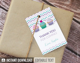 Cupcake Party - Thank you Tags - Favor labels - Baking Party - INSTANT DOWNLOAD - Printable PDF with Editable Text
