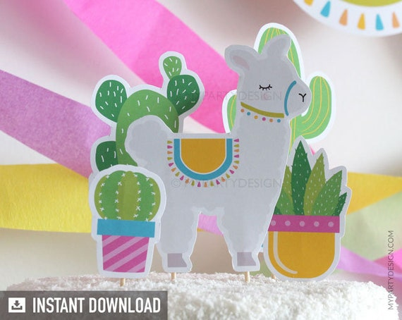Llama Party Cake Toppers Llama Cake Topper Cactus Cake Etsy
