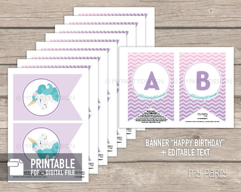 Unicorn Party Decorations Printable PDF with Editable Text Bunting Decor Unicorn Birthday Banner INSTANT DOWNLOAD Pastel Purple
