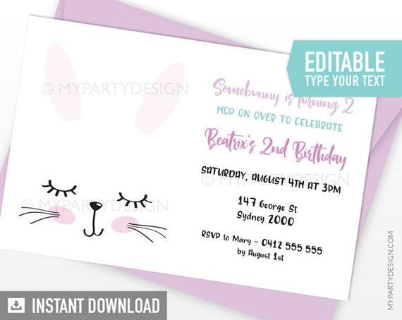 bunny party invitation easter bunny party invite rabbit birthday