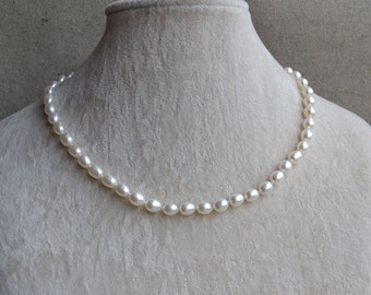 4f9316098 rice pearl necklace, white freshwater pearl necklace, wedding jewelry, pearl  jewelry, wedding necklace. real pearl necklace