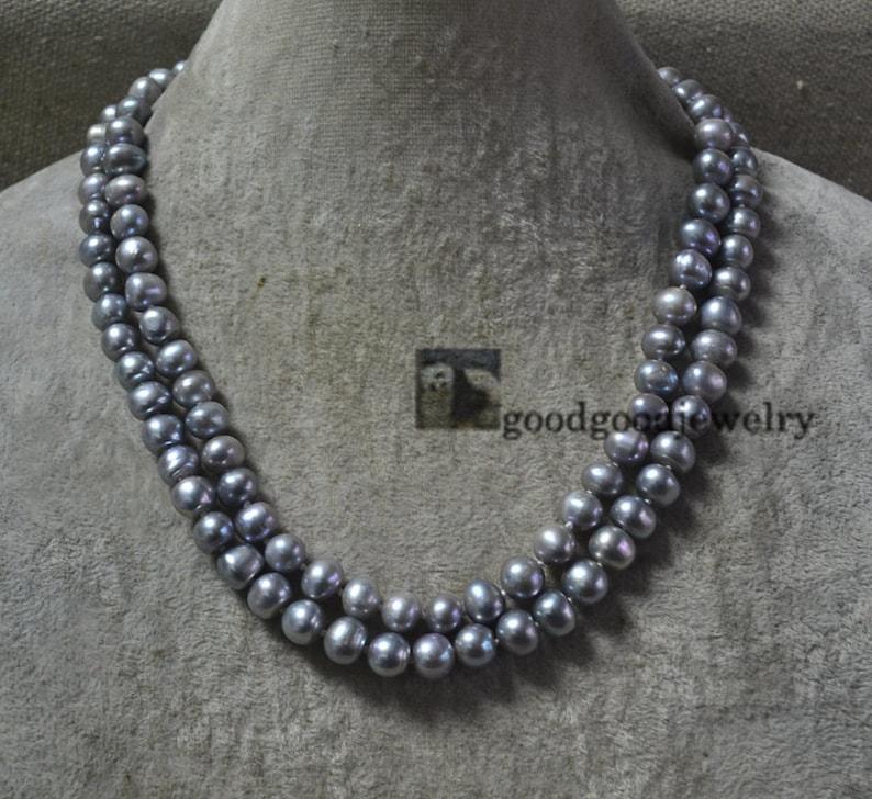 f1f9b7101f34 Plata collar de perlas gris doble collar de Dama de honor de