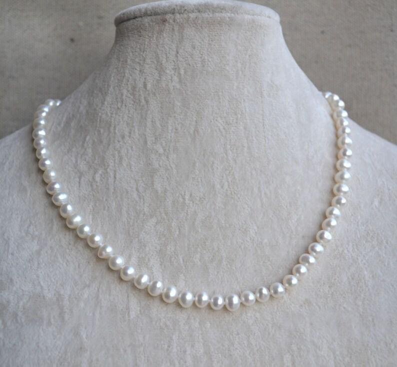 fa4438fa1325 Blanco collar de perlas 18 pulgadas 6-7mm de perlas de agua