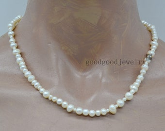 Ivory pearl Necklace, single strand multi-size Genuine Fresh Water Pearl Necklace, statement necklace, Real pearl necklace,informal necklace