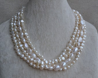 baroque pearl necklace -4 rows pearl necklace,18 inches 6-12mm Ivory Freshwater pearl necklace,real pearl necklace, statement necklace