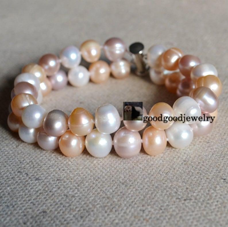 ab68f45ce3e7 Pulseras de perla de filamento doble 9-10mm brazalete de