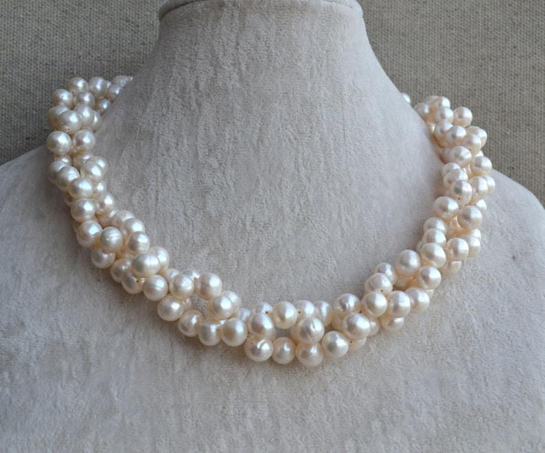 432b07a3fe85 Collar de perlas collar trenzado 18 pulgadas 8-9mm agua