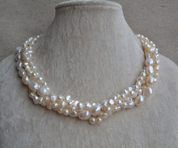 Long Pearl Necklace,39.5 inch6-7mm Freshwater Pearl Necklace,Ivory Pearl Necklace,real pearl necklace,statement necklace,bridesmaid necklace