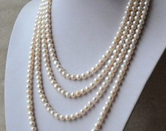 Long pearl necklace, 90 inches 7-8mm White Freshwater Pearl Necklace, real Pearl necklace,off round pearl necklace, statement necklace