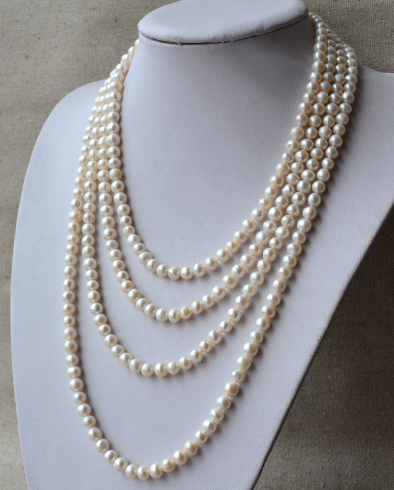 Long pearl necklace 90 inches 7-8mm White Freshwater Pearl image 1