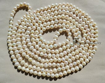 Long Pearl necklace, white real pearl necklaces - 100 inches 7-8mm Freshwater Pearl Necklace,bridesmaids necklace, statement necklace