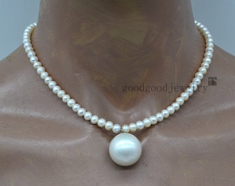 pearl necklace, 6-6.5mm pearl with a 19.5mm big pearl necklace, round pearl pendant necklace, statement necklace