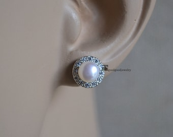 6mm real pearl with 9.5mm rhinestone post earrings, cultured freshwater pearl earrings, cheap pearl earrings,bridesmaid earrings,bridal show