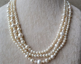 long pearl necklace,60 inches 5-11mm white pearl necklace,freshwater pearl necklace,statement necklace, women necklace, real pearl necklace