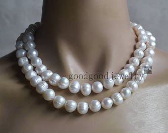 big Ivory Pearl Necklace, double strand 11-12 mm Freshwater Pearl necklace, real Pearl necklace, statement necklace, women necklace